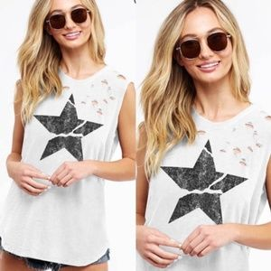 BECKA Star Distressed Graphic Tee - WHITE